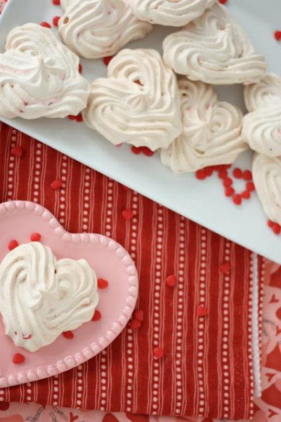 Red Hot Heart Meringue Cookies